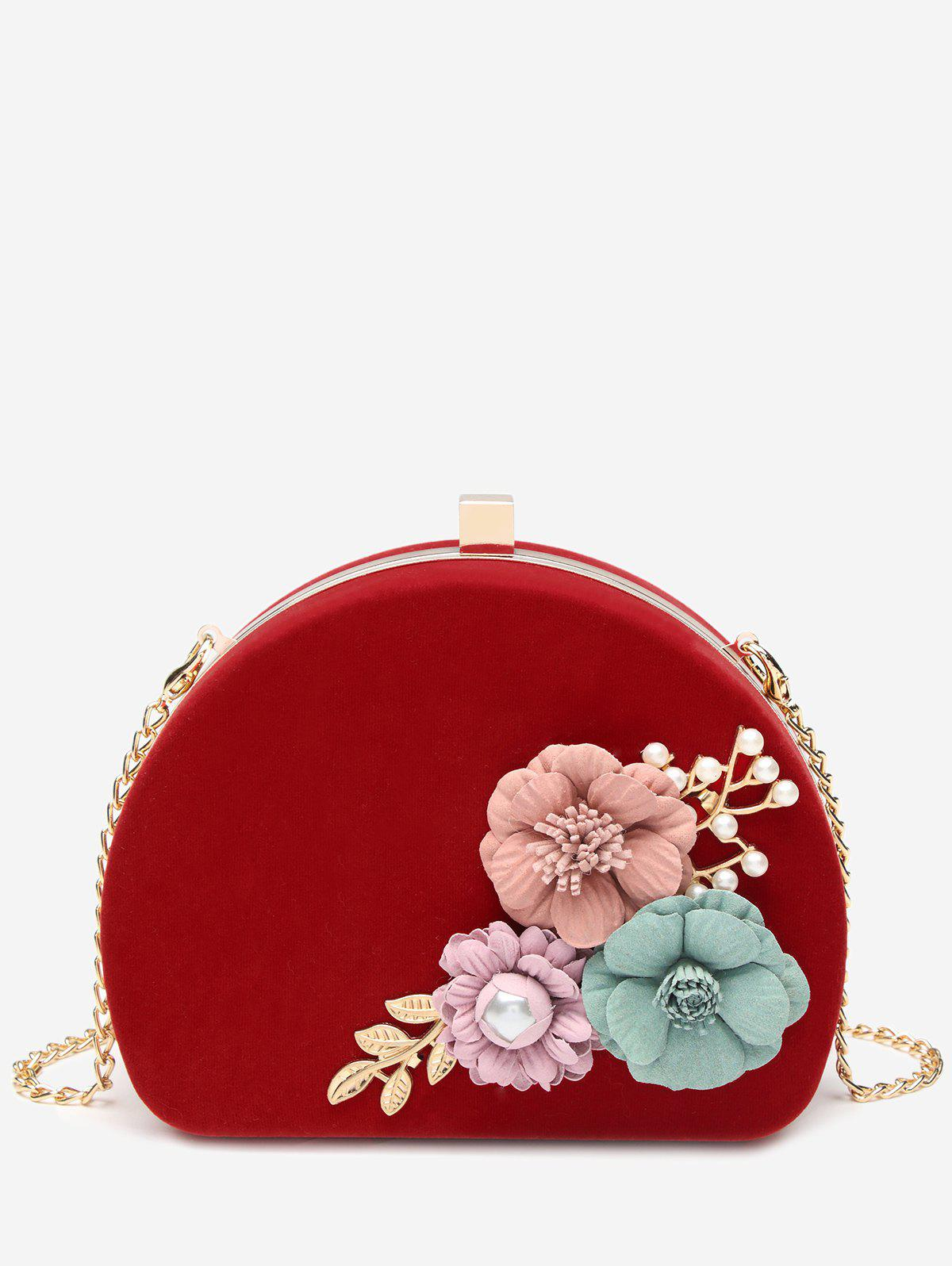 Sale Stereo Flower Shell Metal Chain Banquet Clutch