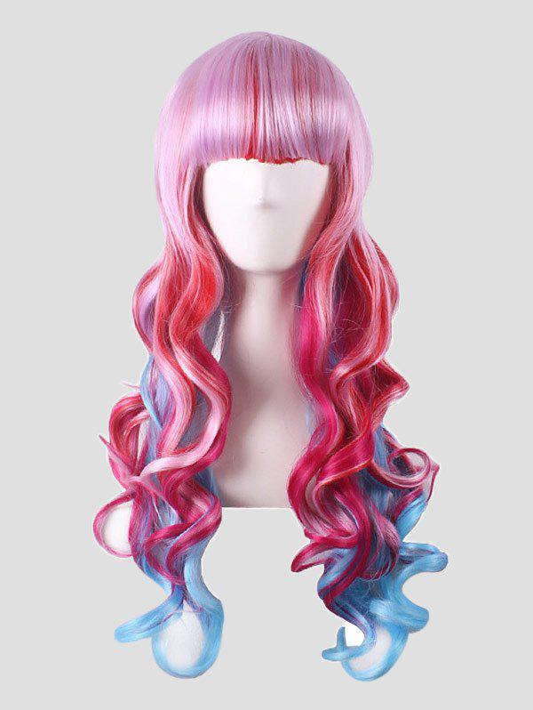 Latest Neat Bang Long Body Wave Colorful Synthetic Cosplay Wig