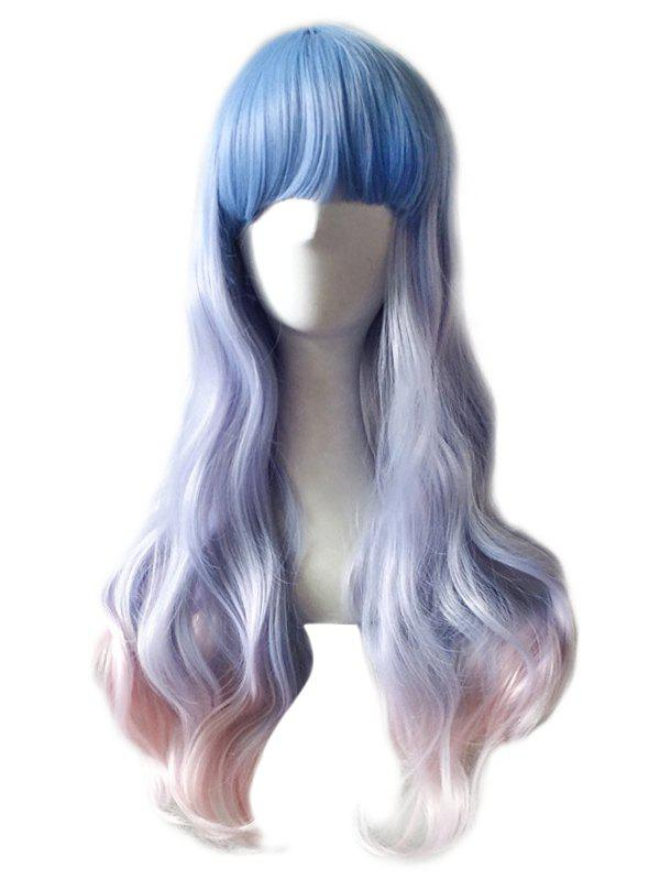Hot Long Full Bang Colormix Wavy Anime Cosplay Synthetic Wig