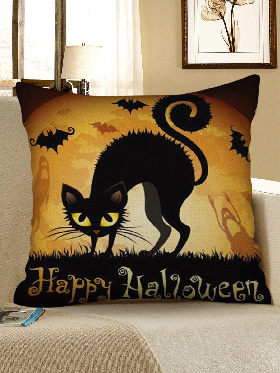Chic Happy Halloween Cat Print Decorative Sofa Linen Pillowcase