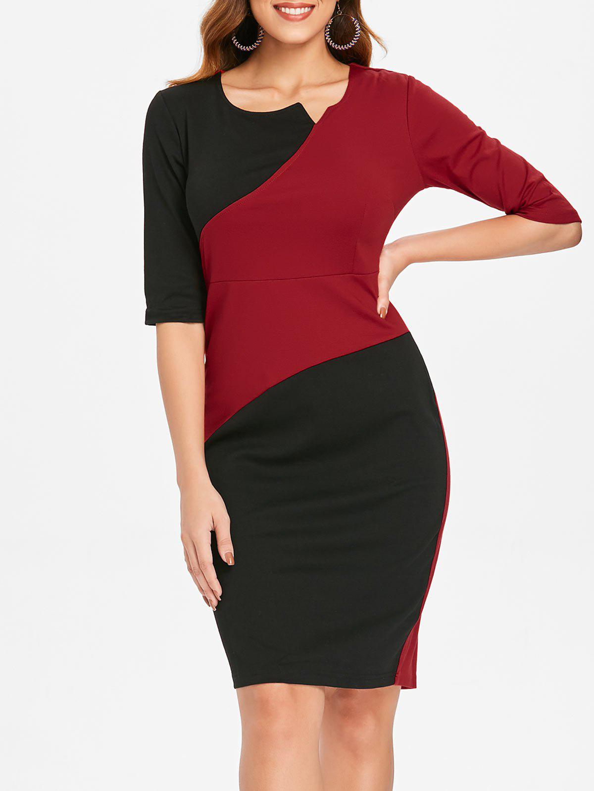 New Half Sleeve Contrast Sheath Dress