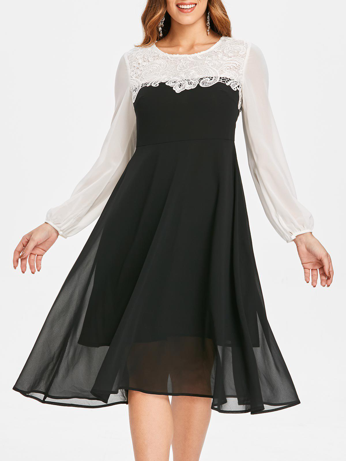 New Lace Panel Chiffon Flare Dress