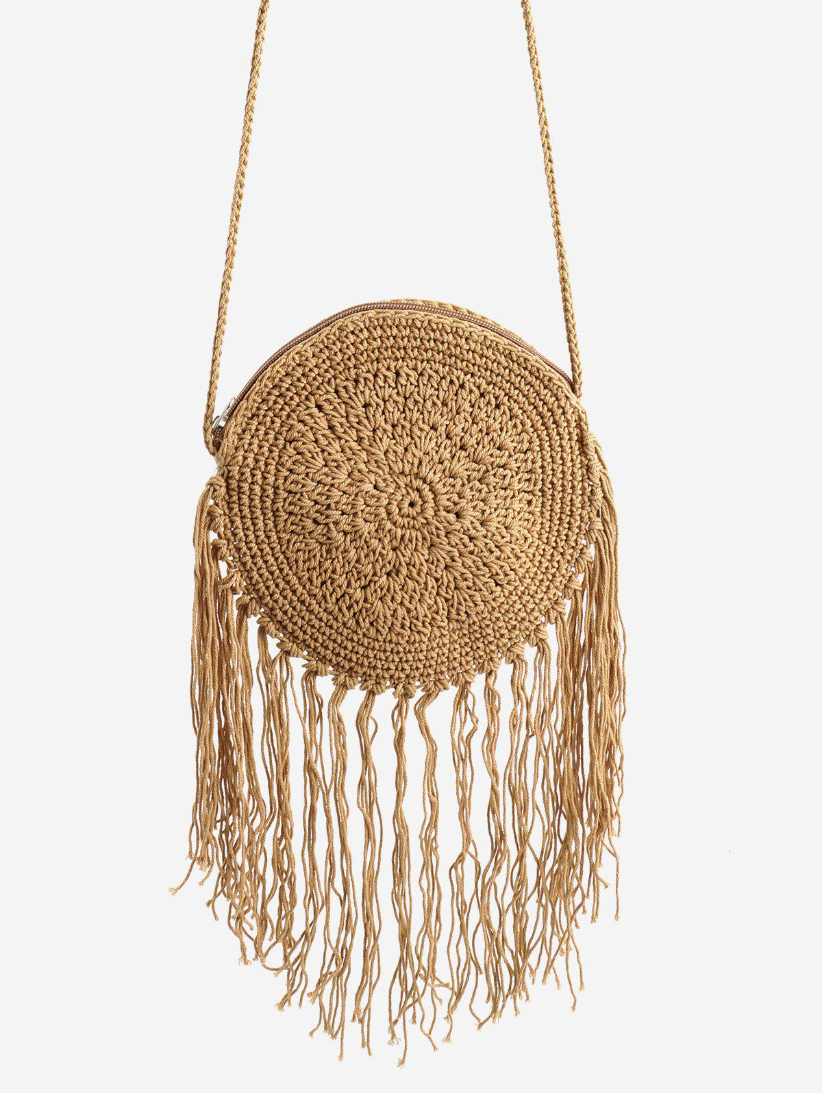 Trendy Solid Round Woven Fringes Sling Bag