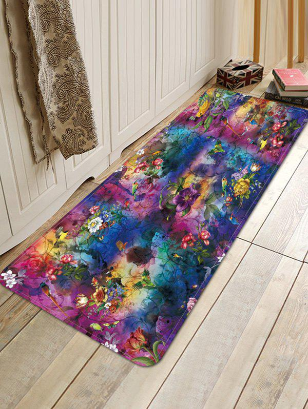 Store Flower Birds Tie-dye Print Water Absorption Floor Mat