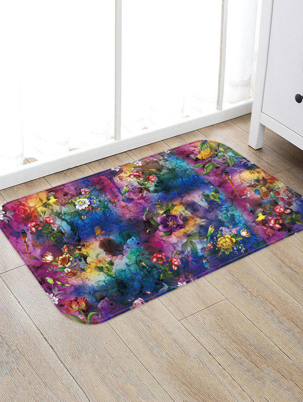 Trendy Flower Birds Tie-dye Print Water Absorption Floor Mat