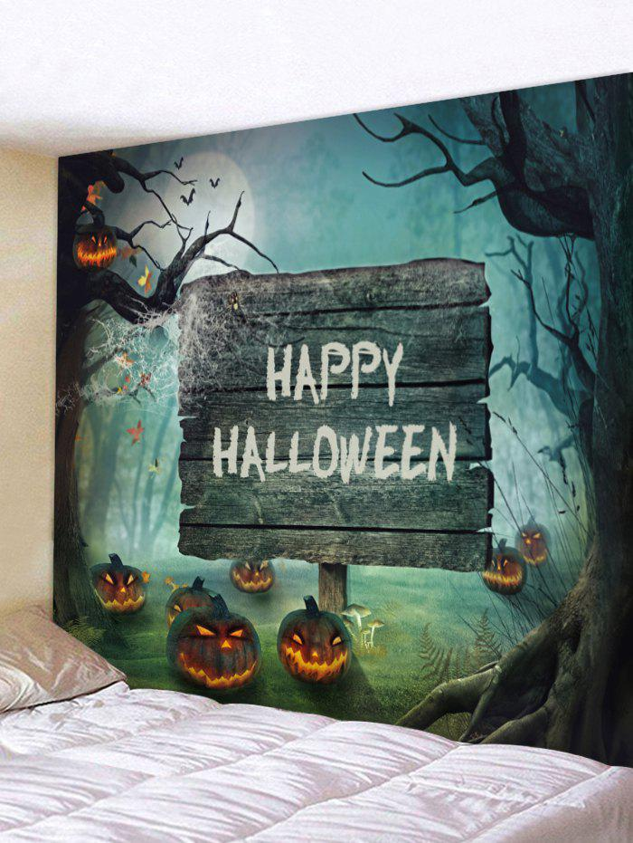 Sale Halloween Moon Scary Forest Pumpkin Printed Wall Tapestry