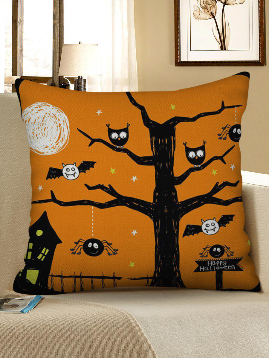 Fancy Halloween Bat Printed Decorative Linen Pillowcase