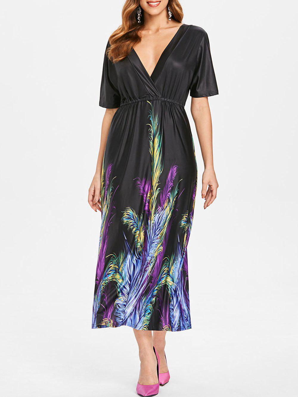 Chic Plunge Neck Feather Print Dress