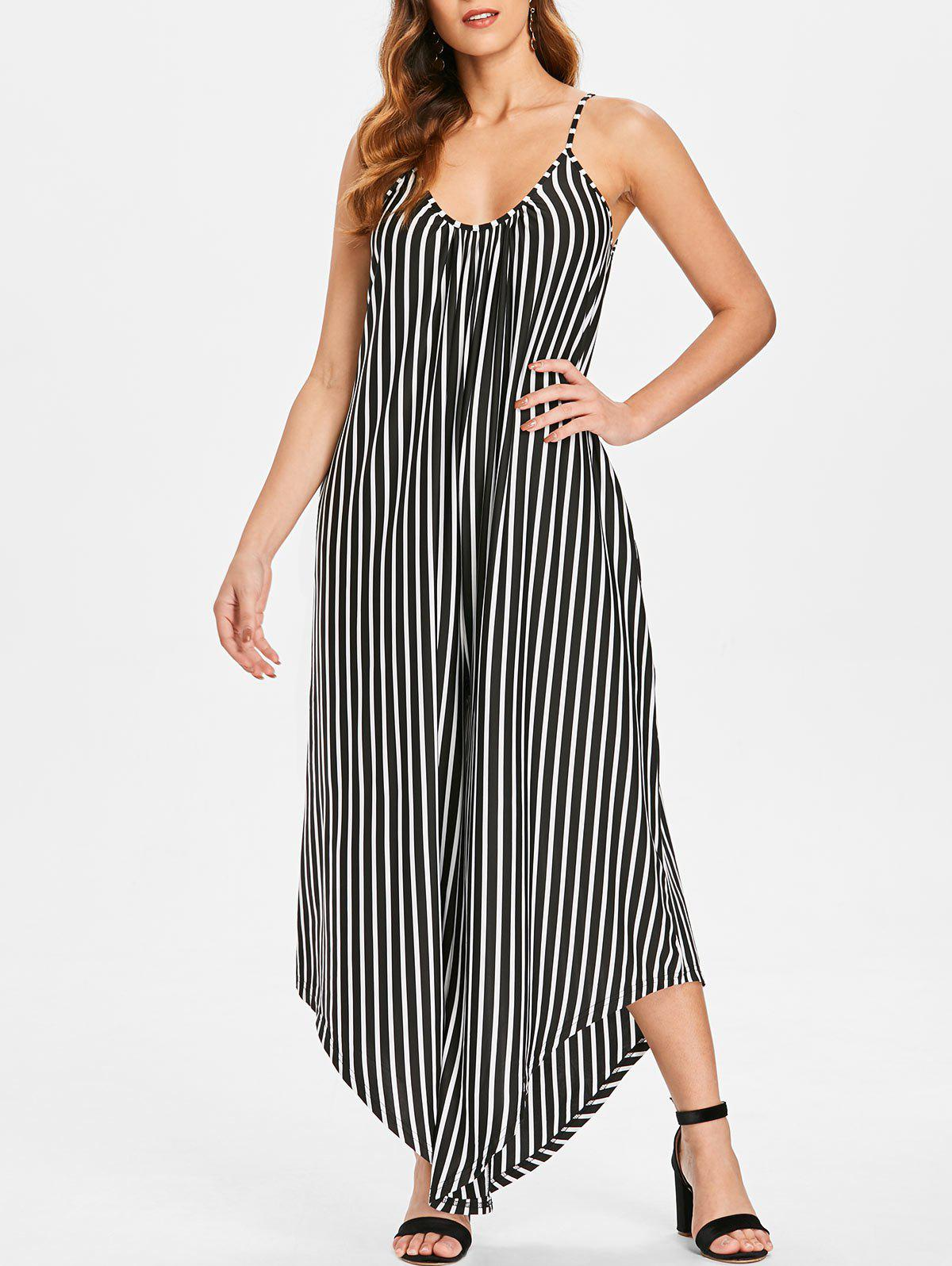 Fancy Vertical Stripe Cami Strap Jumpsuit