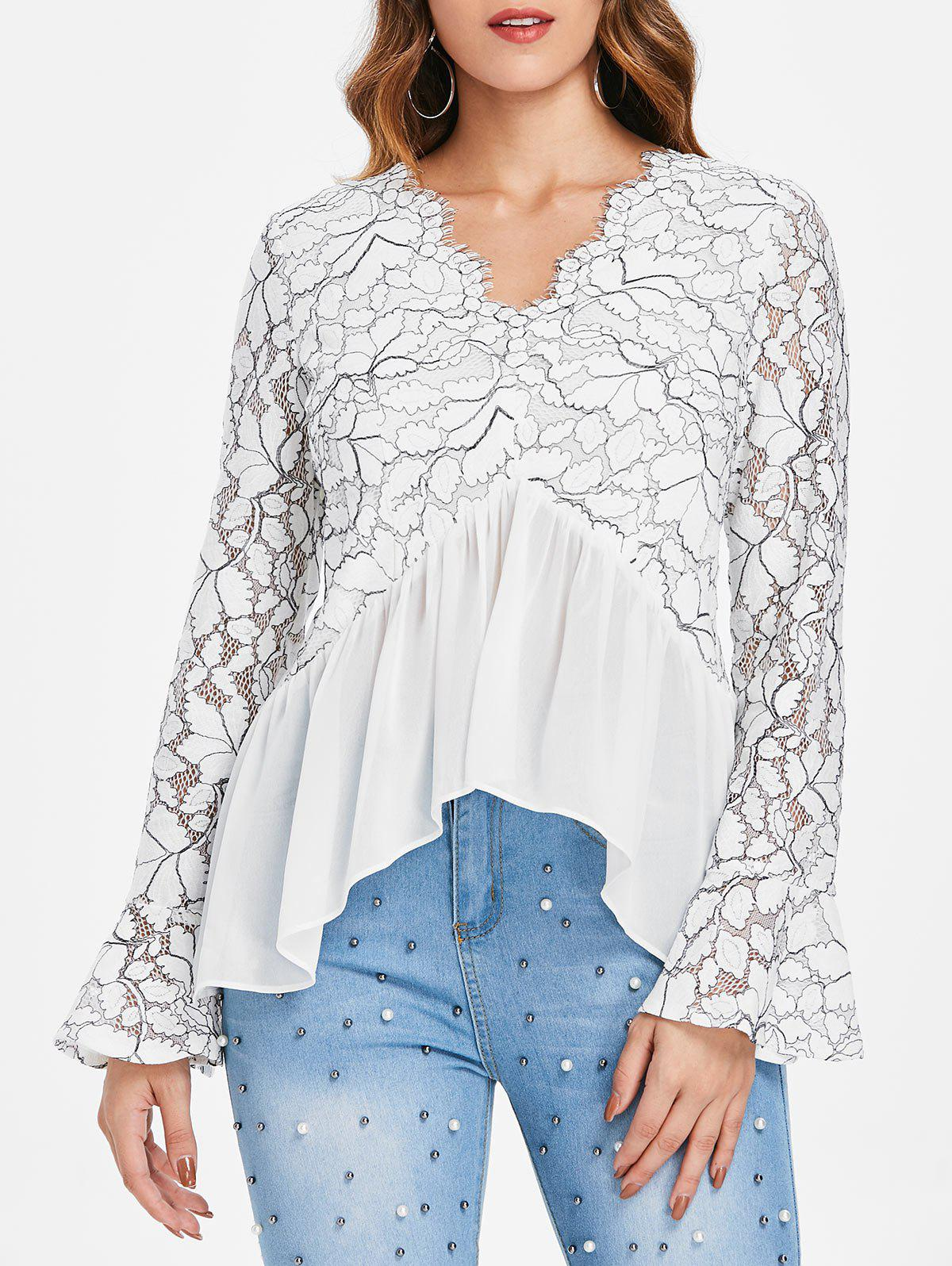 Sale Flare Sleeve Lace Panel Top