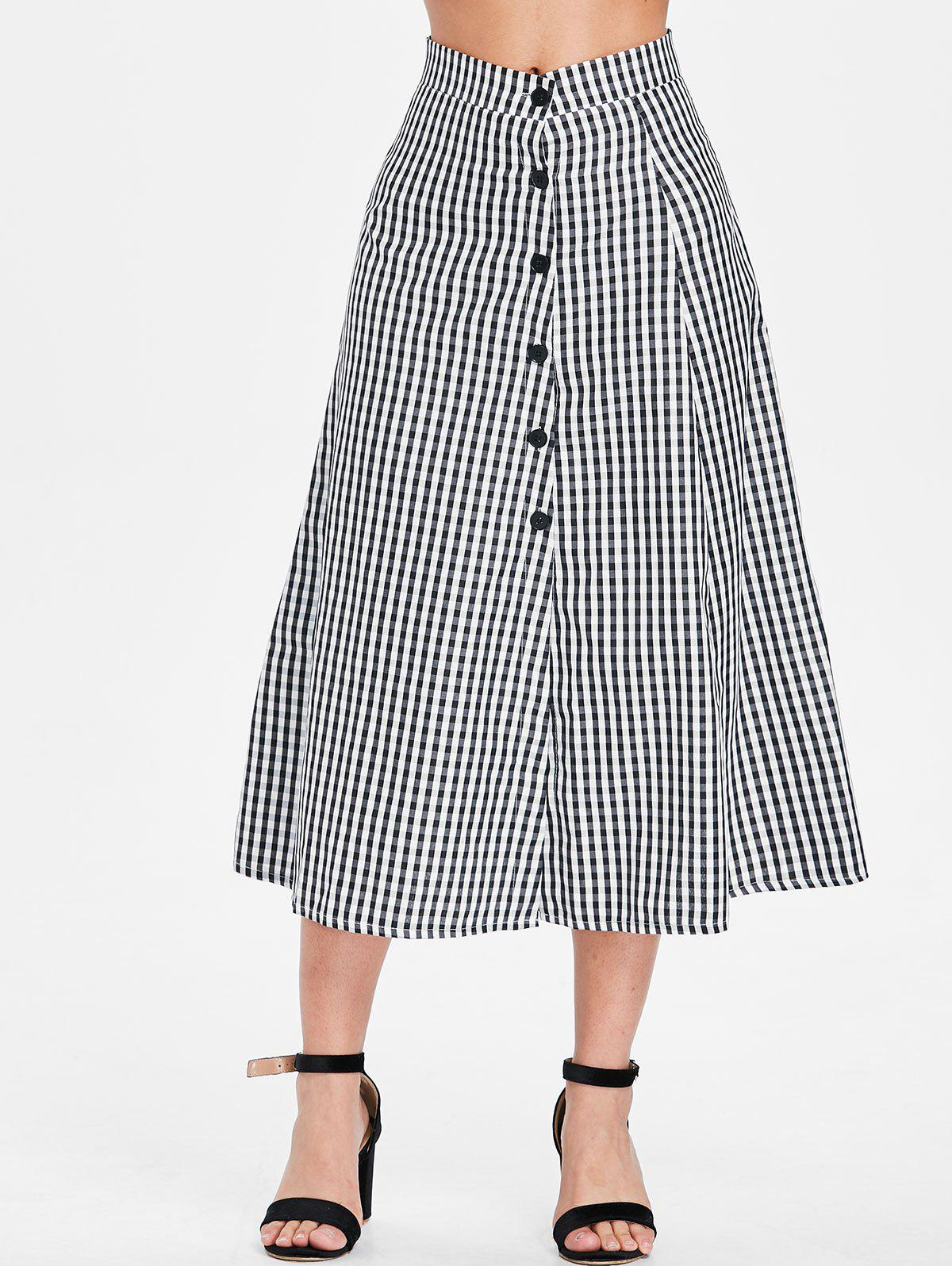 Online Gingham Print Button Embellished Mid Calf Skirt