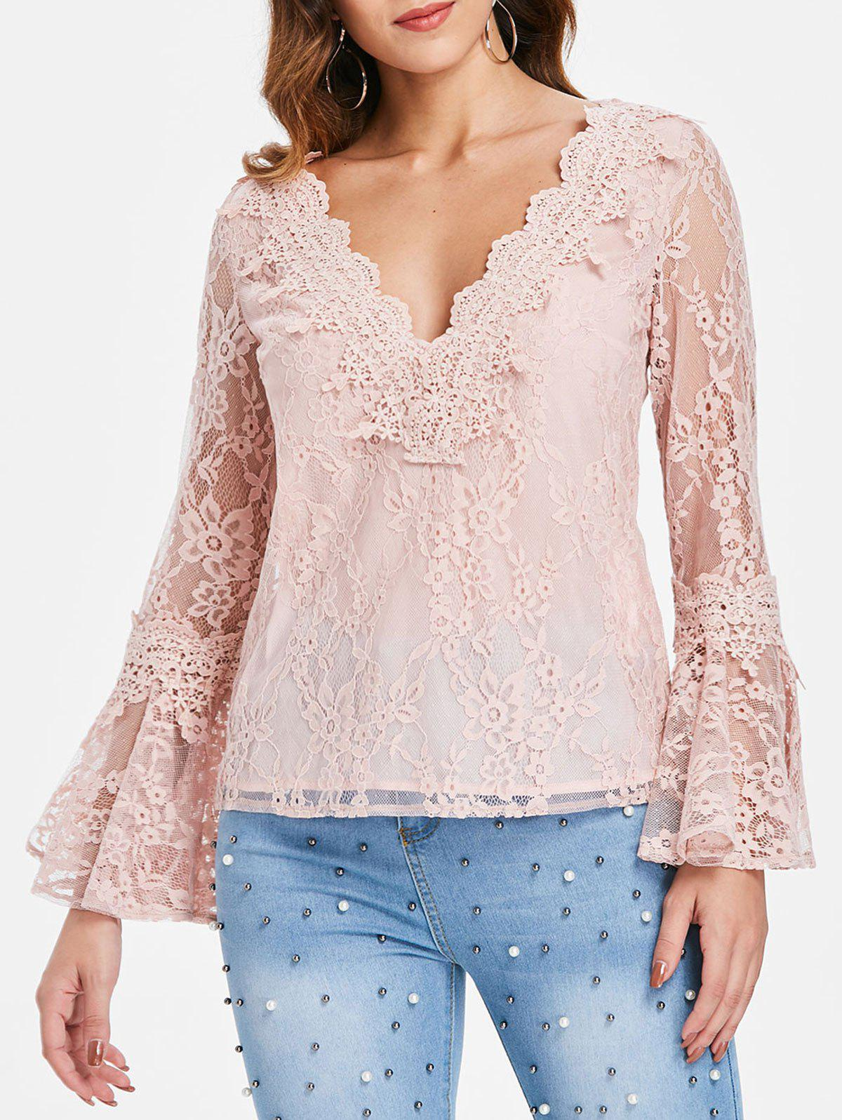 Unique V Neck Flare Sleeve Lace Top