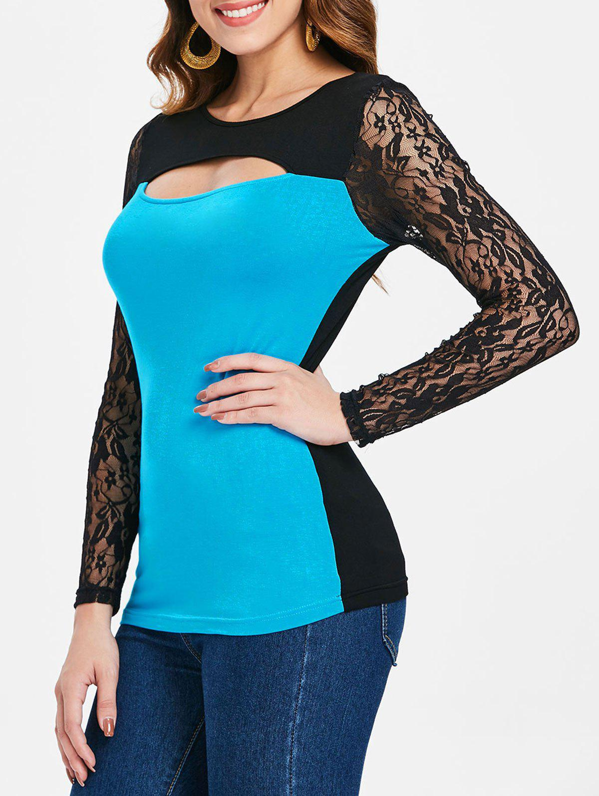 Shop Color Block Long Lace Sleeve T-shirt