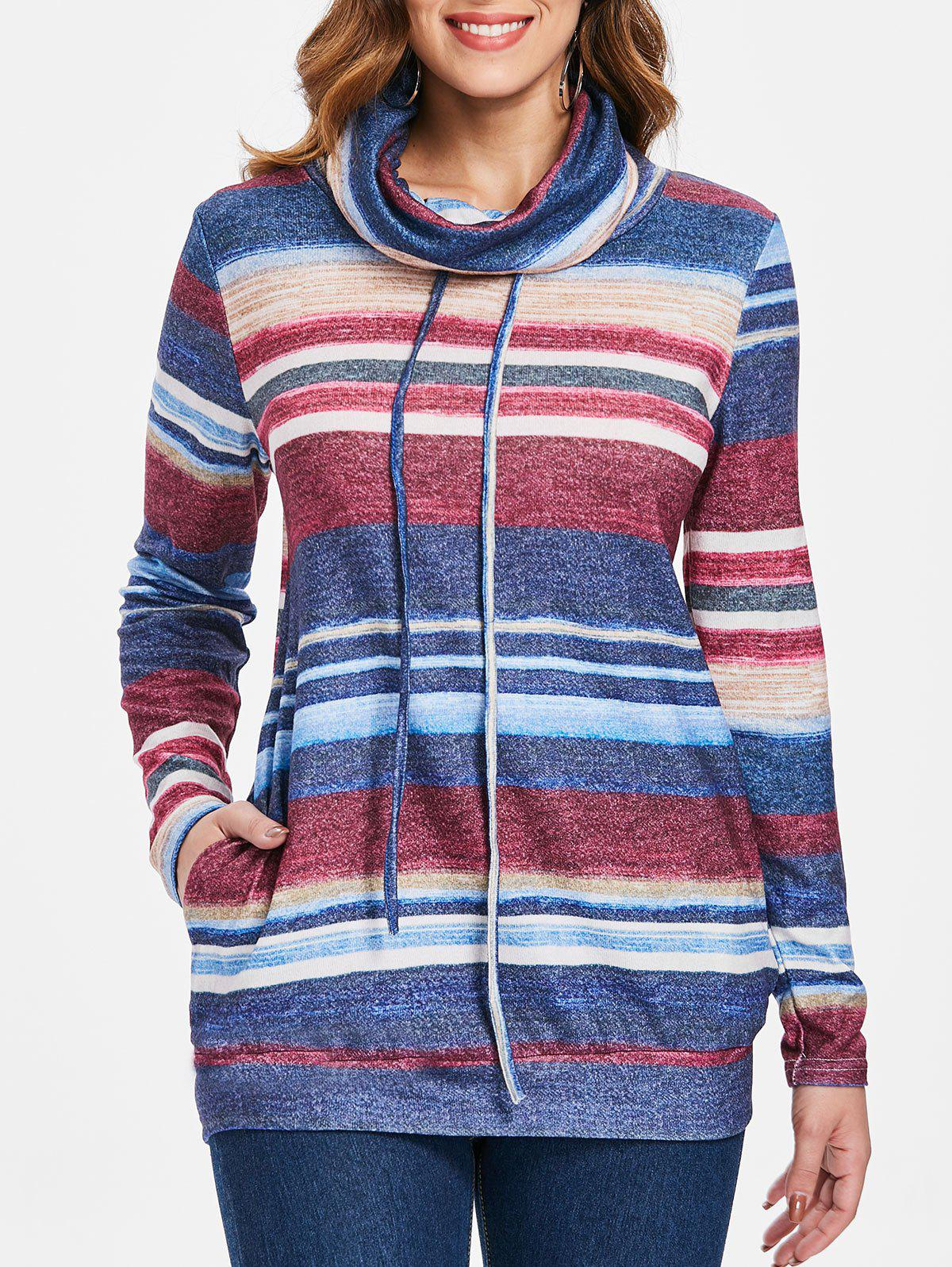 Shop Striped Cowl Neck Pullover Sweatshirt