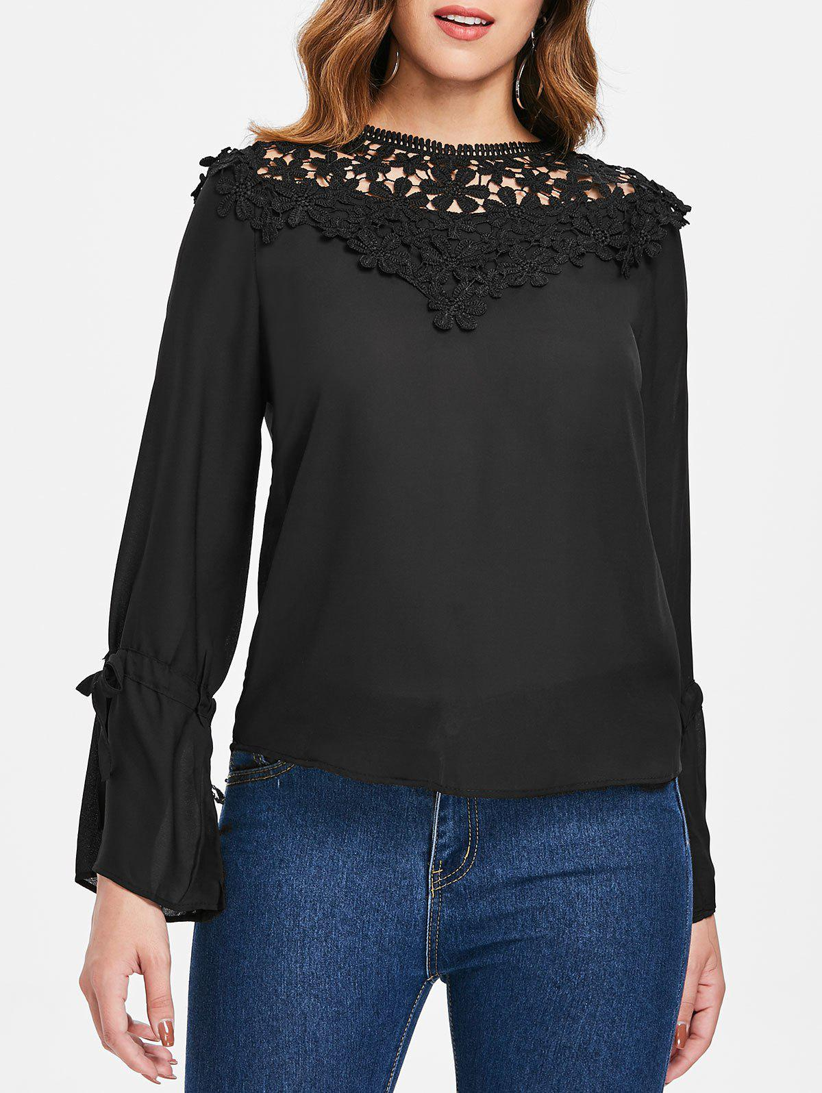 Discount Tie Sleeve Lace Panel Blouse