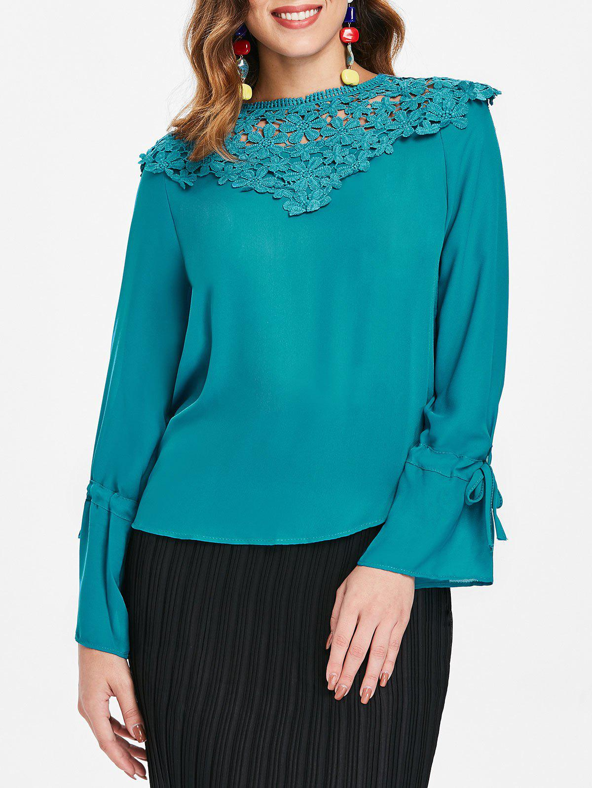 Latest Tie Sleeve Lace Panel Blouse