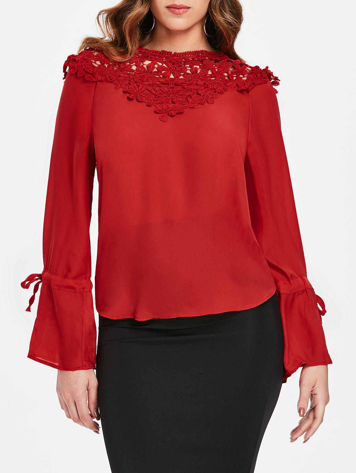 Outfits Tie Sleeve Lace Panel Blouse