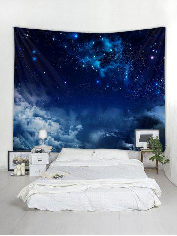 Wall Hanging Art Starry Clouds Print Tapestry, Lapis blue