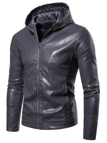 Zip Up Solid Color Hooded Jacket