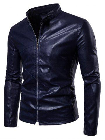 Slim Fit PU Leather Stand Collar Jacket
