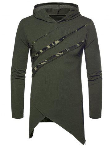 Chest Camo Patch Zipper Asymmetric Hem Hooded T-shirt