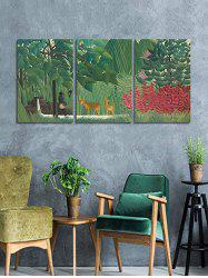 Primary Forest Print Unframed Split Canvas Paintings -