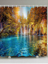 Lake In The Forest Print Waterproof Bathroom Shower Curtain -