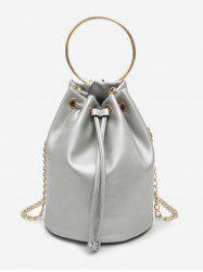 Metal Ring Bucket Shaped Handbag with Chain Strap -