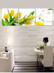 Flower and Music Print Unframed Split Canvas Paintings -
