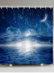 Starry Sky Moon Print Waterproof Bathroom Shower Curtain -