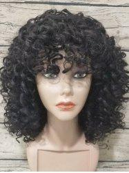 Medium Neat Bang Kinky Curly Synthetic Wig -