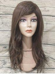 Long Oblique Fringe Straight Capless Synthetic Wig -