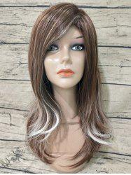 Long Inclined Bang Straight Colormix Synthetic Wig -