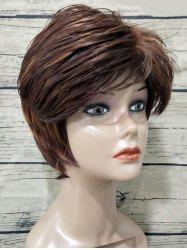 Short Side Bang Colormix Texture Straight Synthetic Wig -