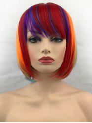 Short Inclined Bang Colorful Straight Bob Cosplay Synthetic Wig -