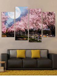 Cherry Blossom Moonlight Printed Unframed Paintings -