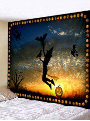 Wall Hanging Art Halloween Witch Sunset Print Tapestry -