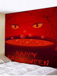 Tapisserie Murale à Imprimé Yeux et Inscription Happy Halloween -