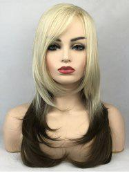 Long Side Bang Colormix Straight Tail Adduction Synthetic Wig -
