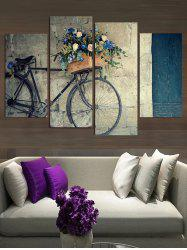 Vintage Bicycle Flower Basket Print Canvas Paintings -