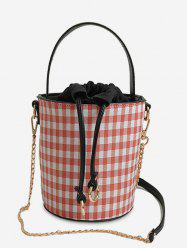 Bucket Shaped Plaid Metal Chain Tote Bag -