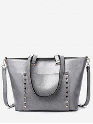 Studs Chic Faux Leather Shoulder Bag with Strap -