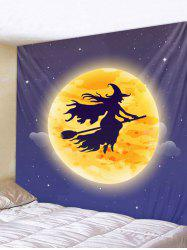 Wall Hanging Art Halloween Moon Witch Print Tapestry -