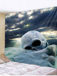 Wall Hanging Art Cloudy Day Skull Print Tapestry -