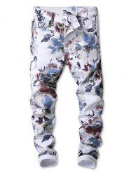 Flowers Painting Print Straight Jeans -