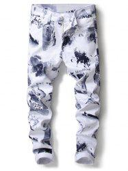 Zipper Fly Casual Graphic Stretchy Jeans -