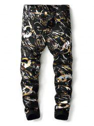 Shiny Splash Painting Print Pockets Jeans -
