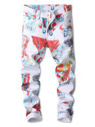 Colorful Catwalk Dressed Lady Print Zipper Fly Jeans -