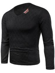 Long Sleeve V Neck Applique Knit T-shirt -