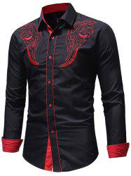 Casual Chest Embroidery Edge Contrast Shirt -